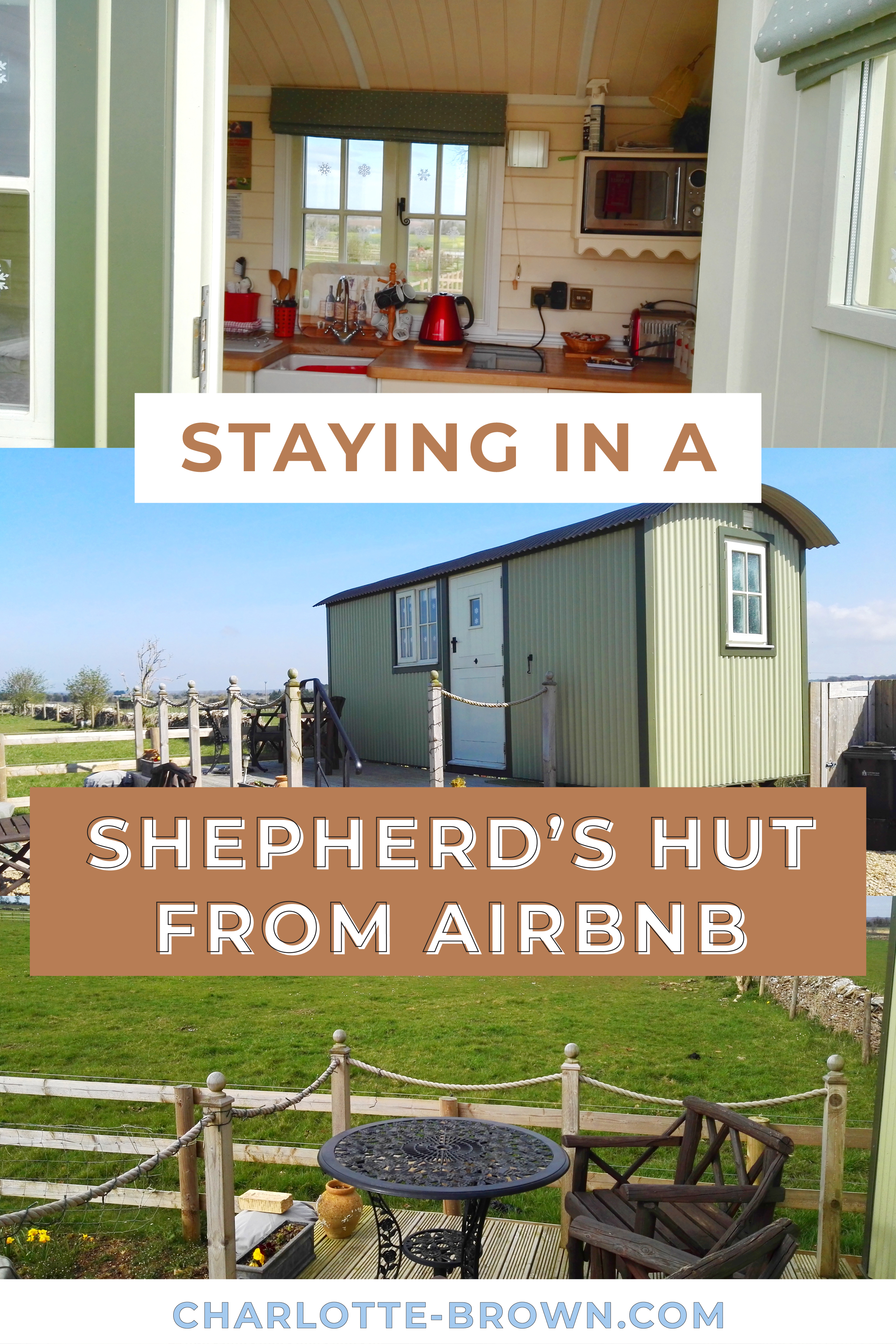 Pinterest Pin to save my post on my Experience Staying in a Shepherds Hut from AirBnB