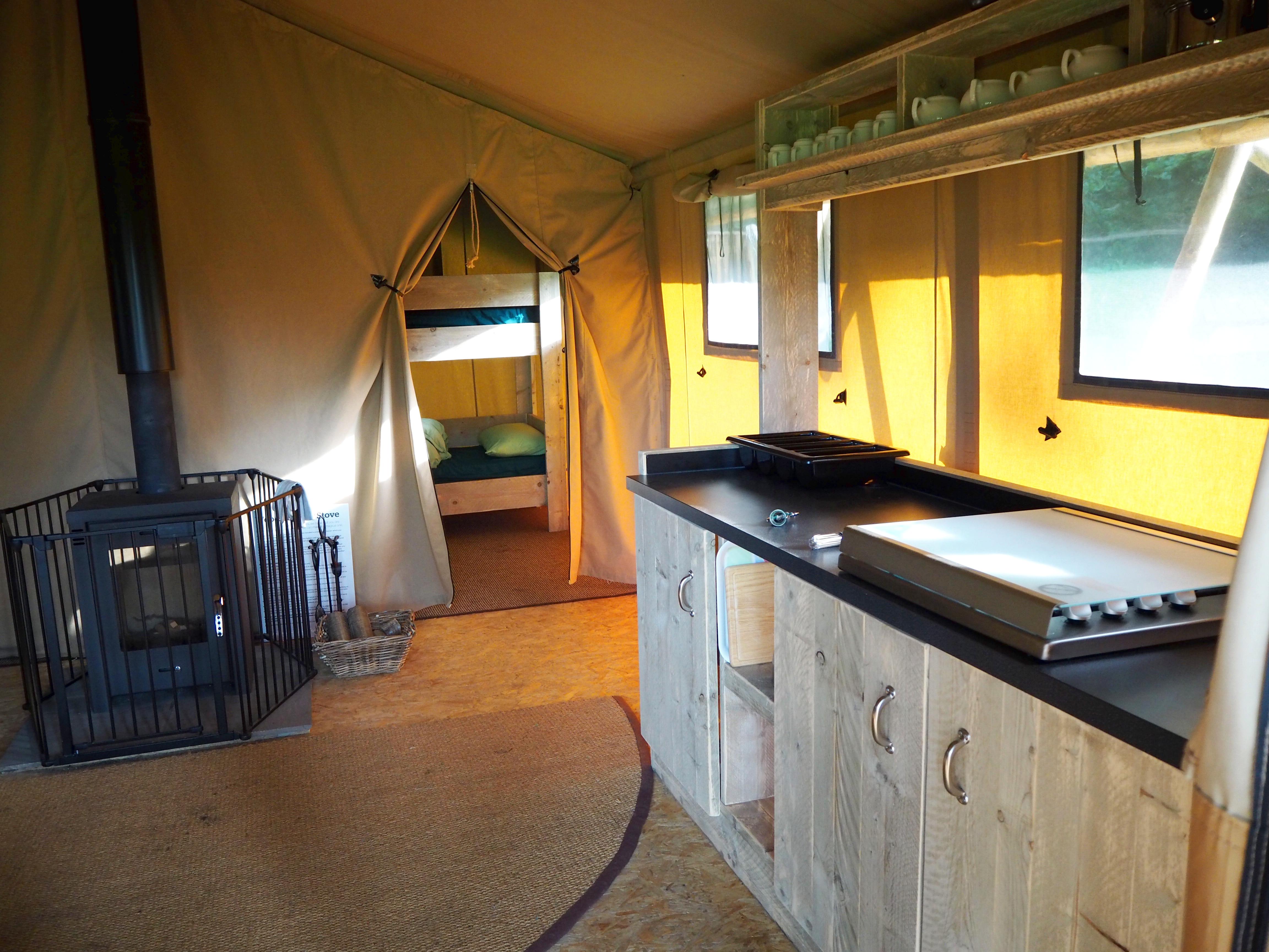 Safari Tent Kitchen at YHA Tanners Hatch