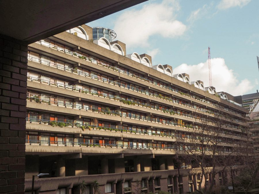 One of the main blocks at the Barbican, a long stretch of apartments with balconies overlooking a central courtyard